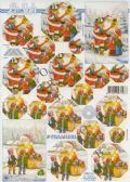 Klik her for at se flere billeder og få mere information om varen:0214 - 3D Pyramide, Julemand og Børn - 2 kort - 1ark
